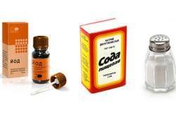 Соль, йод и сода для полоскания горла