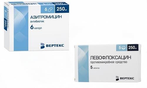 Левофлоксацин и Азитромицин применяются при лечении патологий, спровоцированных бактериальной патогенной микрофлорой