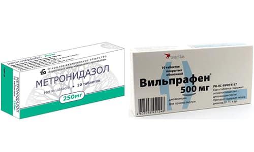 Лекарства Вильпрафен и Метронидазол активно действуют на возбудителей болезни и способны полностью уничтожить инфекцию